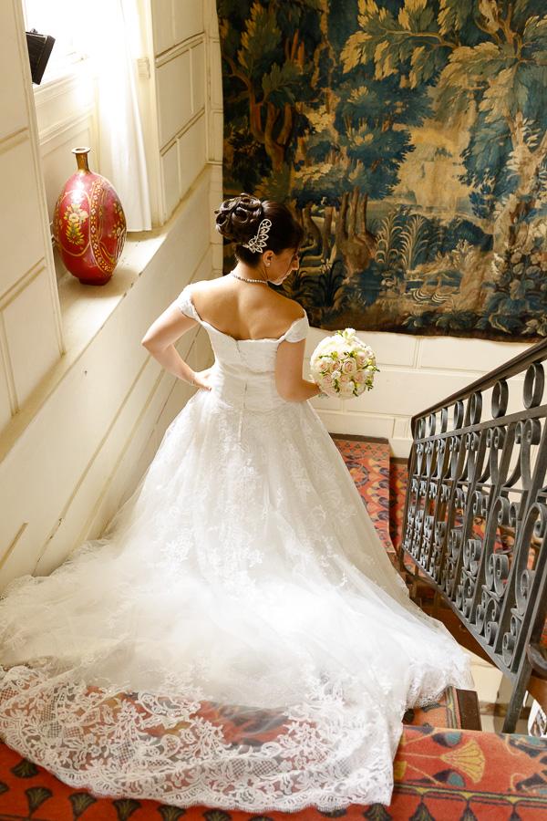 Modèle robe mariée longue traîne château romantique Cambrai