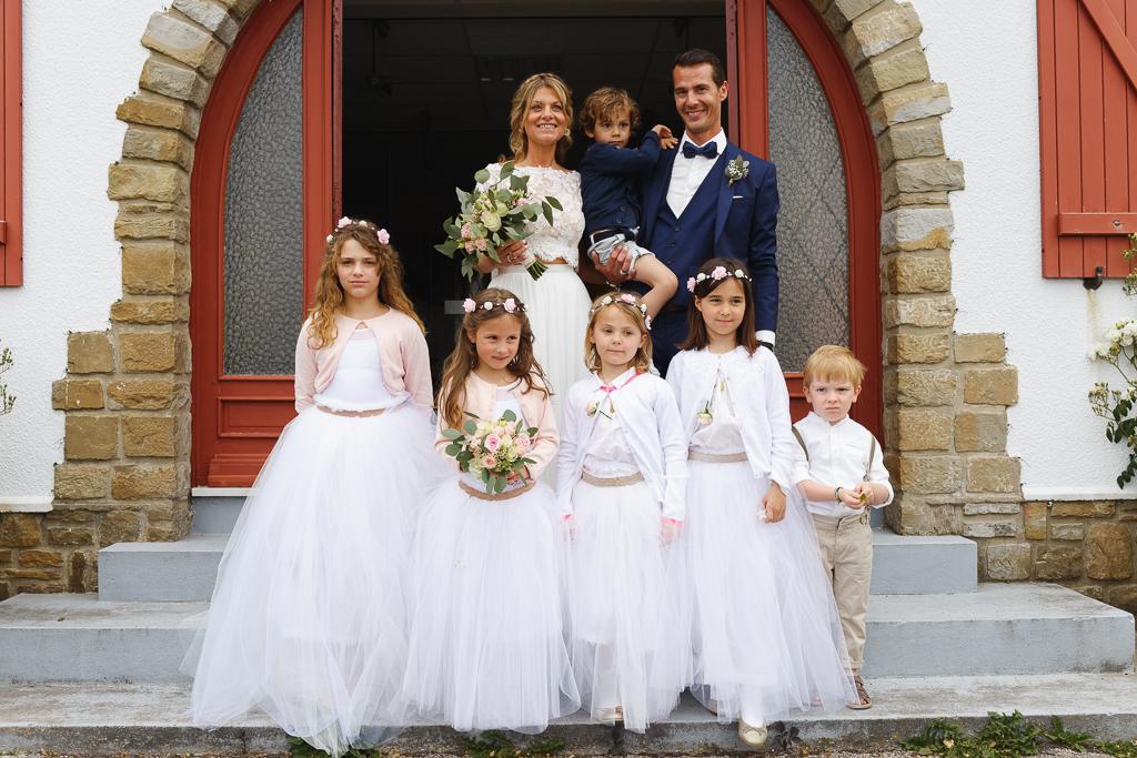 portrait couple et enfants d'honneur mariage civil Condette