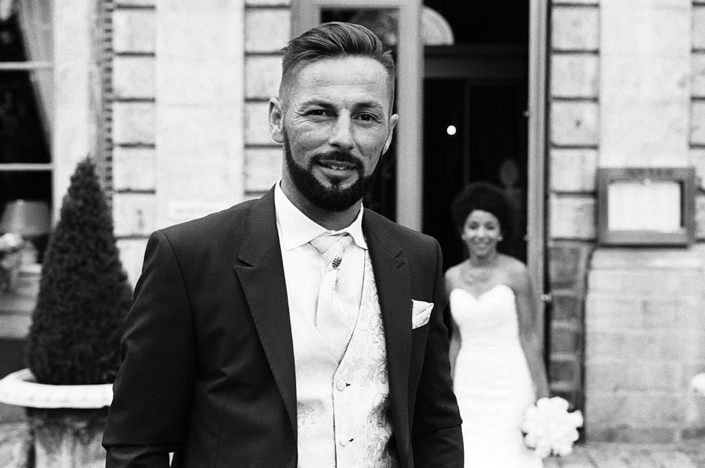 Photo noir et blanc mariage Gosnay Domaine de la Chartreuse