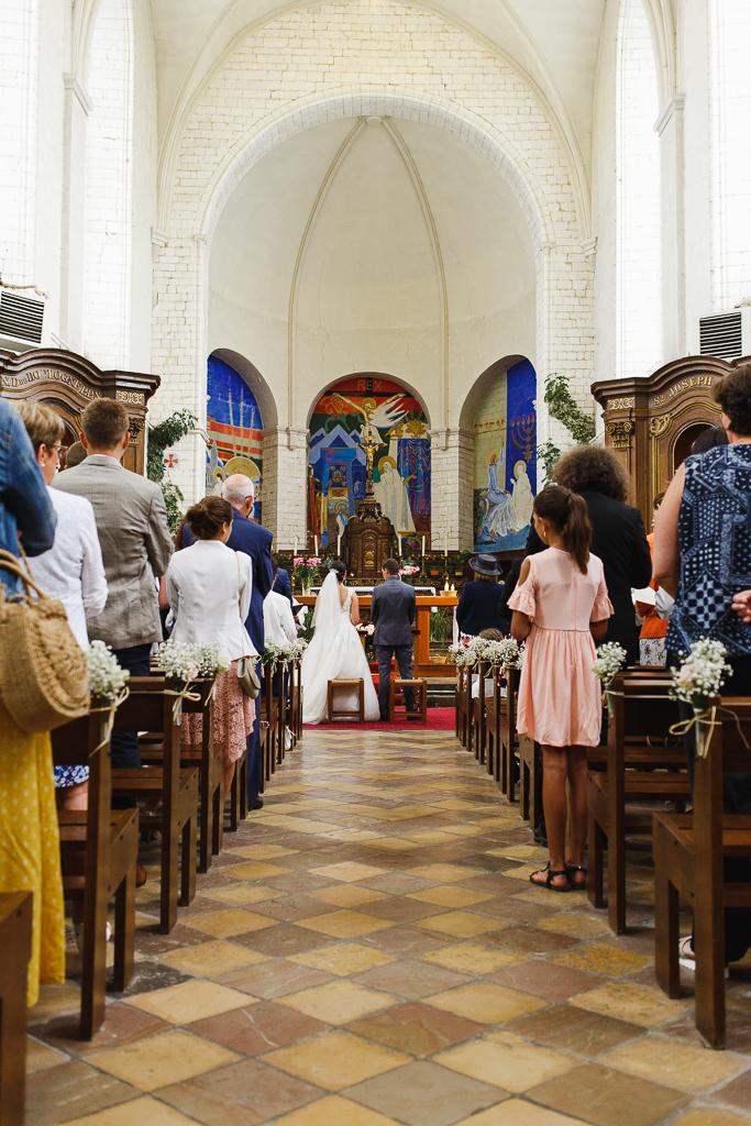 vue d'ensemble église abbatiale Notre Dame de Licques reportage mariage à la campagne Trois Pays