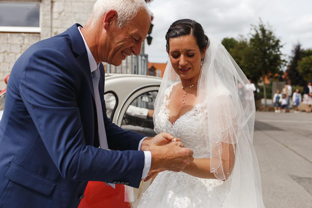 habillage mariée ruban gant mitaine