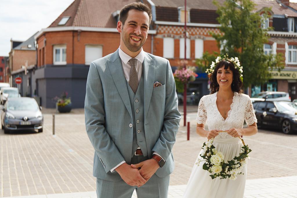 découverte de la robe mairie à Orchies. Reportage photo mariage Nord
