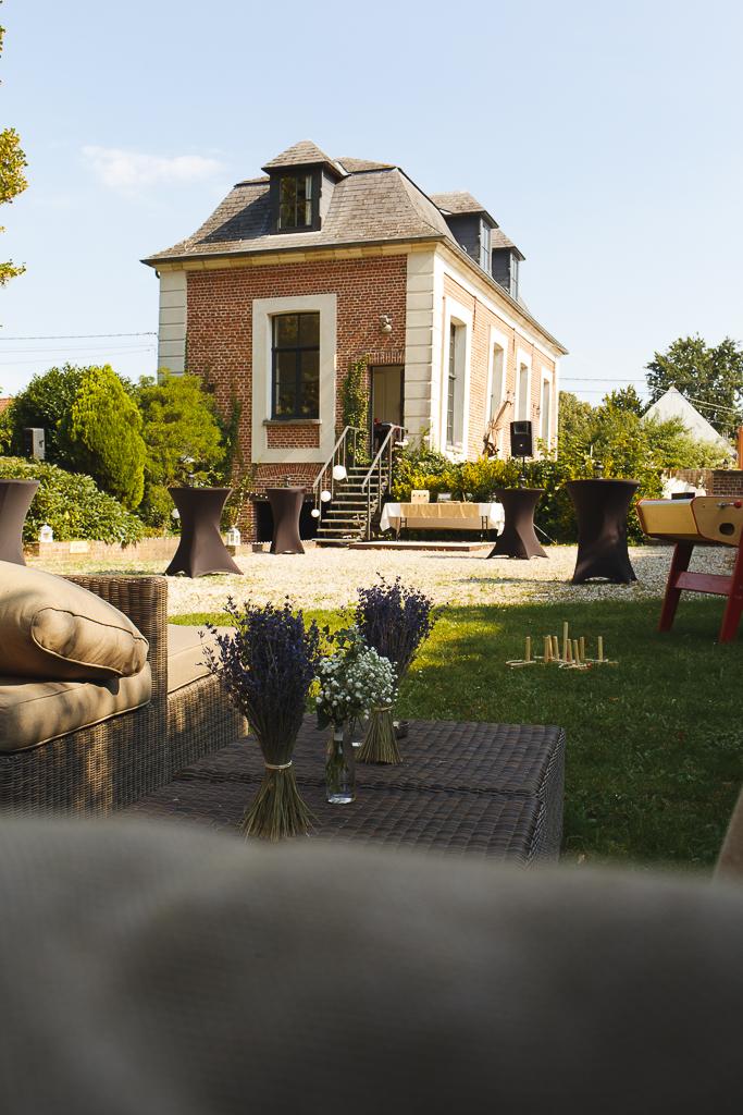vue sur la Ragotière à Froyennes jardin pour réception de mariage dans l'esprit guinguette