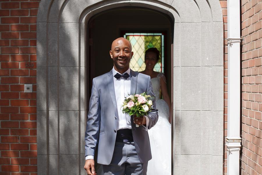 première rencontre des mariés le jour du mariage photographe Mouscron Nord Lille