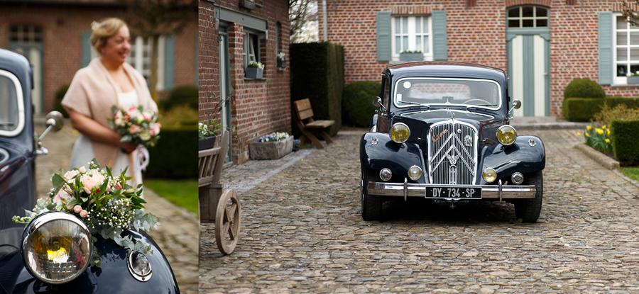 traction avant mariage rétro au domaine de ronceval en belgique